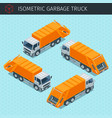 isometric garbage truck vector image