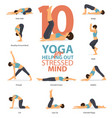 10 yoga poses for your mind vector image vector image
