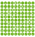100 gear icons hexagon green vector image vector image