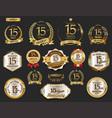 anniversary golden laurel wreath and badges 15 vector image vector image