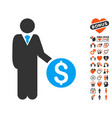 banker icon with lovely bonus vector image vector image