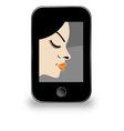 Beautiful lady in a mobile screen vector image vector image