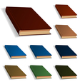 Blank books set nine different colors vector image