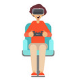 boy with game controller gamepad in virtual vector image vector image