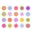 cartoon flower icons summer cute girly stickers vector image vector image