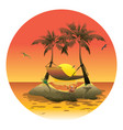 cartoon island with a hammock at sunset vector image