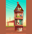 cartoon multistorey house in cross section vector image vector image