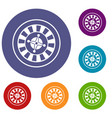 casino gambling roulette icons set vector image vector image
