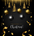 christmas card of black and gold ornament baubles vector image