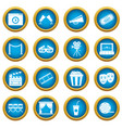 cinema icons blue circle set vector image vector image