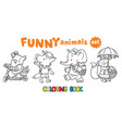 coloring book set of funny baby animals vector image