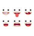 cute emoji smile crazy faces pack vector image