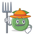 farmer guava character cartoon style vector image vector image
