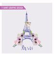 Floral Paris Graphic Design - for t-shirt fashion vector image vector image