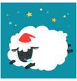 fluffy sheep cartoon sleeping at night sky with vector image vector image
