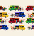 food trucks seamless pattern people queue in vector image vector image