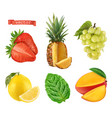 fresh fruit 3d icons set realistic vector image