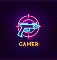 gamer neon label vector image vector image