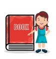 girld and book isolated icon design vector image