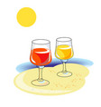 glasses on the sand by the sea vector image vector image