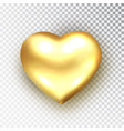 gold heart isolated realistic metallic vector image