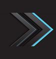 grey arrow blue light direction on dark vector image vector image