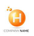 h letter splash orange dots and circle bubble vector image vector image