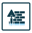 Icon of brick wall with trowel vector image vector image