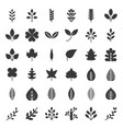 leaves and branch icon set glyph design vector image