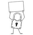 lock or padlock cartoon character holding empty vector image