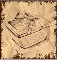 Market basket on vintage background vector | Price: 1 Credit (USD $1)