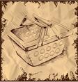 market basket on vintage background