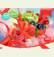 mix fruits and berries splash of juice strawberry vector image vector image