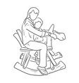 mother riding wooden rocking horse with her son vector image vector image