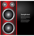 music party invite with speakers on red and white vector image vector image