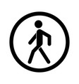 no walking sign prohibited black road sign vector image