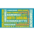 North Carolina state cities list vector image