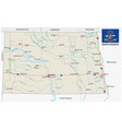 north dakota road map with flag vector image vector image