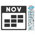 November Calendar Page Flat Icon With Bonus vector image
