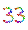 number 33 thirty three of colorful hearts on white vector image