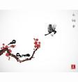 pine tree sakura cherry tree in blossom and vector image vector image