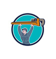 Plumber Lifting Monkey Wrench Circle Cartoon vector image vector image