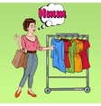 Pop Art Woman with Shopping Bags Choosing Dress vector image vector image