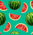 realistic detailed 3d whole watermelon and slices vector image vector image