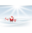 santa and snowman in snowy landscape vector image