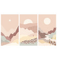 set abstract mountain landscapes a background warm vector image vector image