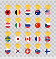 set national flags of the world on transparent vector image