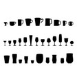 set of silhouettes of glasses water vector image