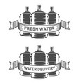 set of two water bottle logo vector image vector image