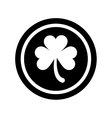 silhouette saint patrick day coin shamrock icon vector image vector image